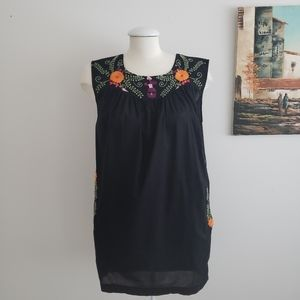Vintage Black & Embroidered Floral Tunic